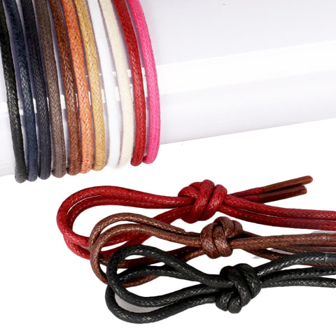 1Pair Waxed Cotton Round Shoe laces Leather Waterproof ShoeLaces Men Martin Boots Shoelace Shoestring Length 60/80/100/120/140CM