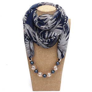 New Pendant Scarf Necklace Bohemia Necklaces For Women Chiffon Printed Scarves Pendant Jewelry Wrap Foulard Female Accessories