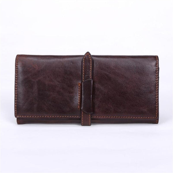 100% Top Genuine Cowhide Leather High Quality Men Long Wallet
