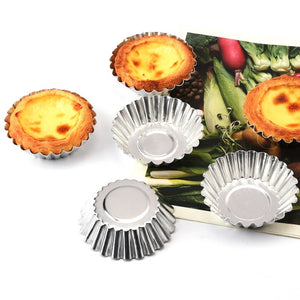 10pcs Cake Aluminium Alloy Tart Mould Baking Tool Cupcake Egg Tart Fruit Tart Mold