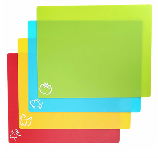 4PCS/SET Flexible Cutting Board Mats With Food Icons, Nonslip Antimicrobial Easy To Clean