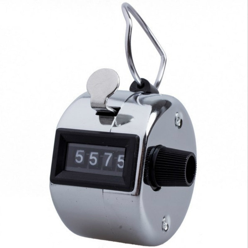 Silver Promotion Stainless Metal Mini Lap Golf Hand Held Manual 4 Digit Number Farm Hand Golf Tally Football Counter Clicker