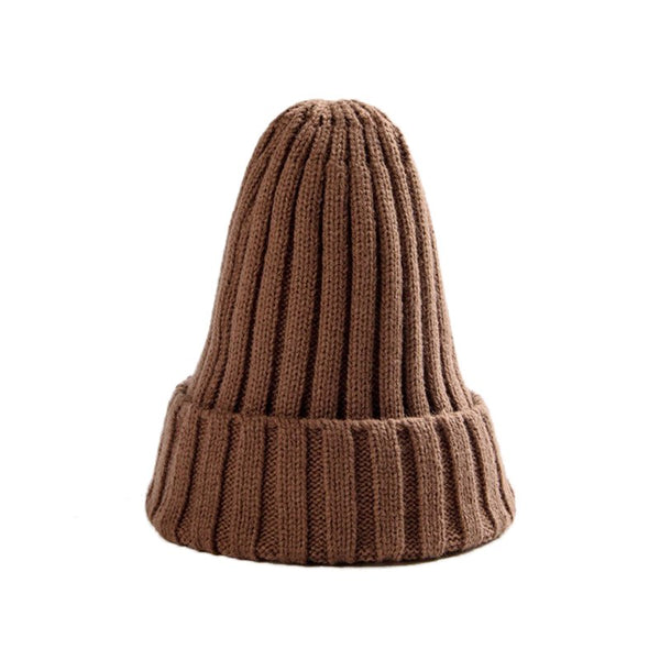 Autumn Winter Men Women Parent-child Wool Hat Curling Cap Winter Hat Warm Solid Knit Pointed Hat