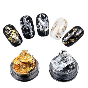Gold Silver Glitter Nail Foil Sticker Gel Adhesive Glue Image Transfer Paillette Flake Full Cover Laser Decal Decor