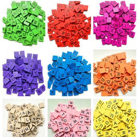 100Pcs/set Colorful English Words Wooden Letters Alphabet Tiles Black Scrabble Letters & Numbers For Crafts Wood