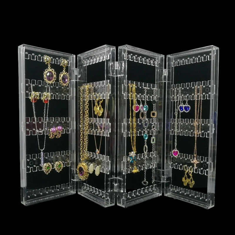 Foldable 4 Panel Clear Acrylic Makeup Jewelry Organizer Holder 256 Holes Earring Stud Necklace Bracelet Case Cabinet Stand Shelf