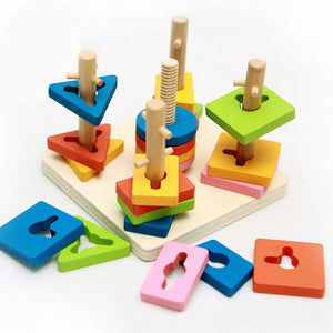 Geometry 5 Pillar Matching Color Shape Wooden Toy