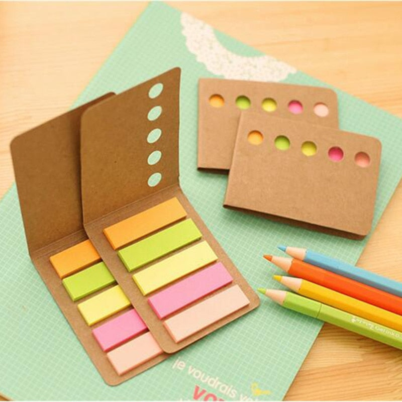 Novelty Kraft Paper Cover Candy Color Memo Pad N-times Sticky Notes Bookmark