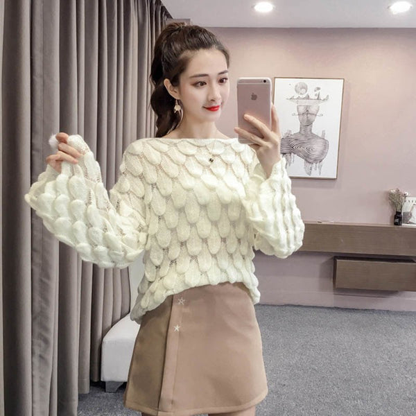 Women Casual Fashion Elegant Sweater Loose Women Sweaters Pullovers Cute 3D Pink White Jumper Sueter Mujer