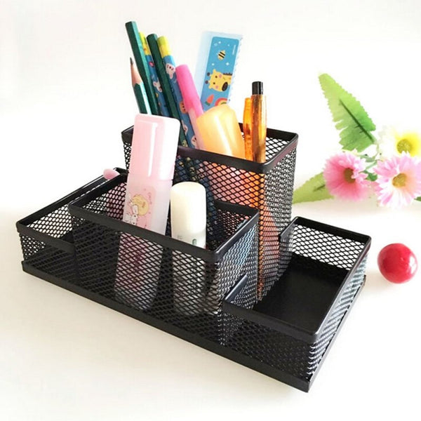 Mesh Cube Metal Stand Combination Holder Desk Desktop Accessories Stationery Organizer Pen Pencil Office Supplies Storage