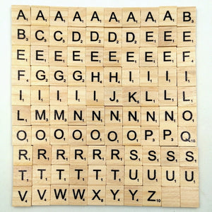 100Pcs/set English Words Wooden Letters Alphabet Tiles Black Scrabble Letters & Numbers For Crafts Woods