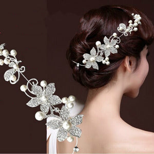 Women Jewelry Luxury Silver Rhinestone Bridal Wedding Flower Pearls Headband Hair Clip