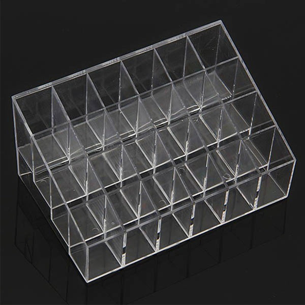 1pcs Transparent Plastic Clear Acrylic 24 Lipstick Concealer Mascara Holder Display Stand Cosmetic Organizer Makeup Case