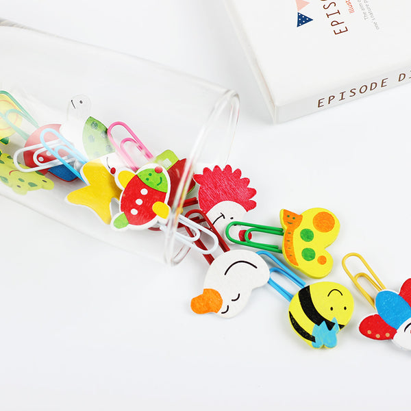 12pcs/Set Kawaii Animal Cartoon Pattern Wooden Paper Clips