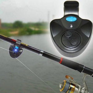 Electronic Fish Bite Sound Alarm Bell Clip on Fishing Rod LED Indicator Light TK