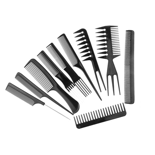 10pcs/Set Professional Hair Brush Comb Salon Anti-static Hair Combs