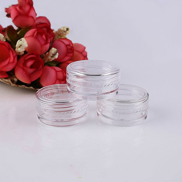 10PCS Cosmetic Jar Box Makeup Cream Nail Art Cosmetic Bead Storage Pot Container Round Bottle Portable Plastic Transparent Case