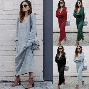 Autumn Winter Warm Knitted Long Sweater Dress Women Sexy V Neck Black Dresses Female Casual Ankle-Length Robe Femme