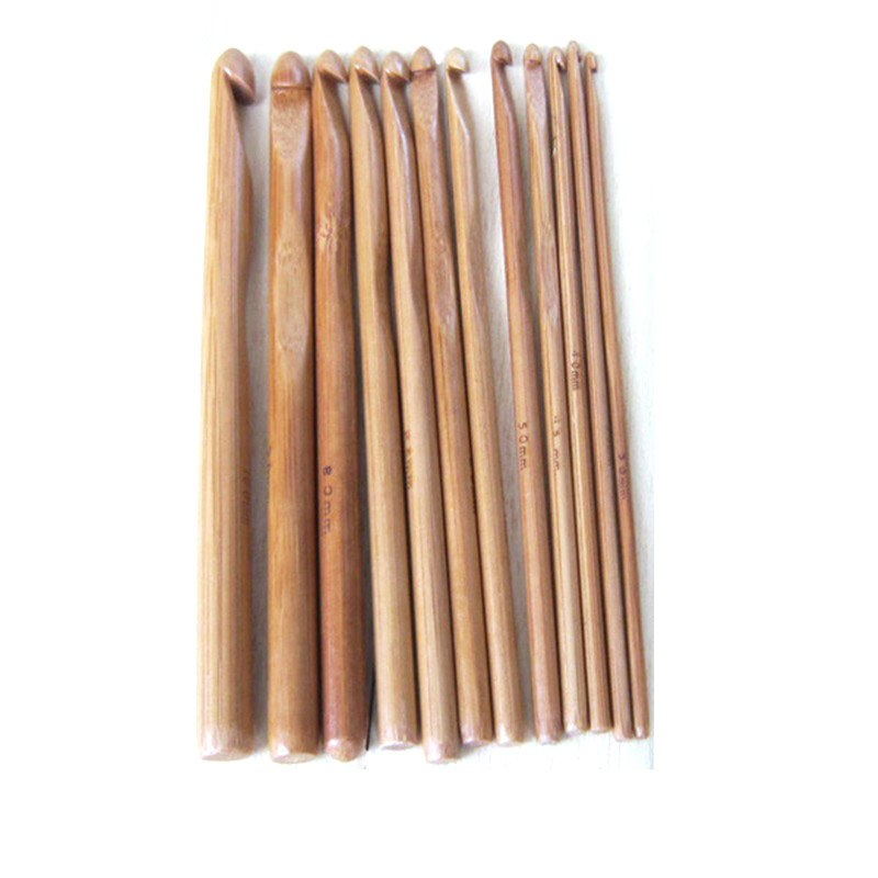 12 Sizes Carbonized Bamboo Handle Crochet Hooks Knit Weave Yarn Craft Knitting Needles