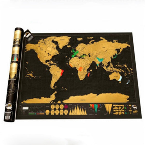 World Map Poster Travel Tracker Map Scrape Off Map with Detailed Landmarks