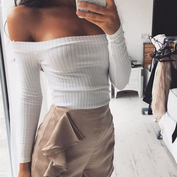 Women Casual High Fashion off Shoulder White Sweater Pullover Crop Top Cropped Sexy Pull Femme Black Tee Basic Knitwear