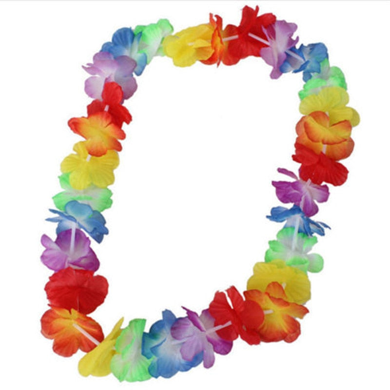 10 Pcs Hawaiian Grass Skirt Flower Hula Lei Necklace Unisex Garland Fancy Dress
