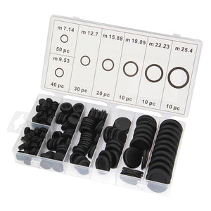 170pcs Black Rubber Grommet Firewall Hole Plug Retaining Ring Set