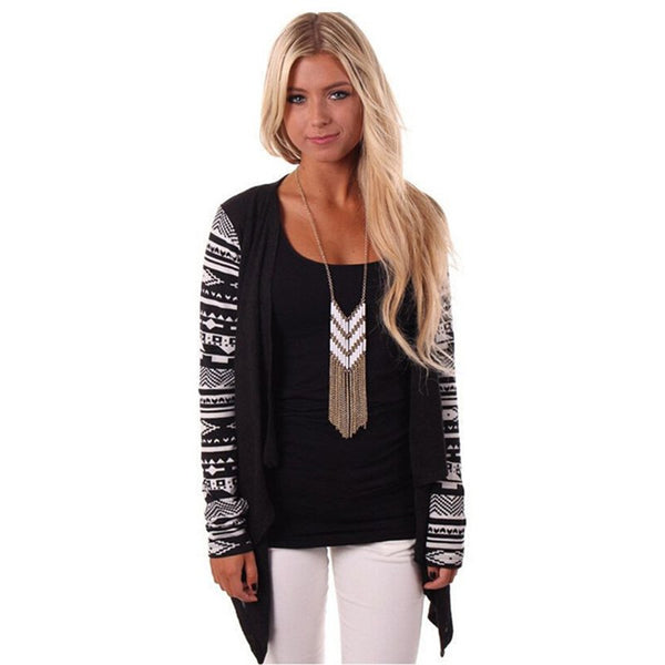 Autumn Women Cardigans Printed Long Sleeve Loose Sweater Tops Knitted Jacket Coat Female Sweaters Outwear Plus Size 5XL