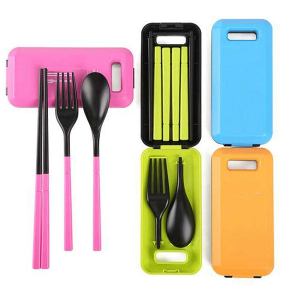 1 set outdoor  tableware folding chopsticks spoon fork with storage box
