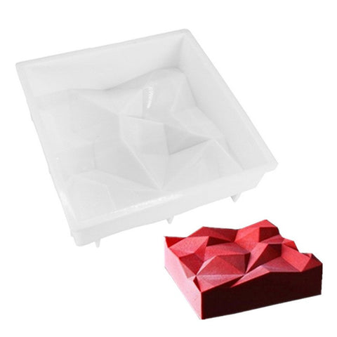 3D Silicone Cake Mold Square Irregularity Geometry Bake Tools