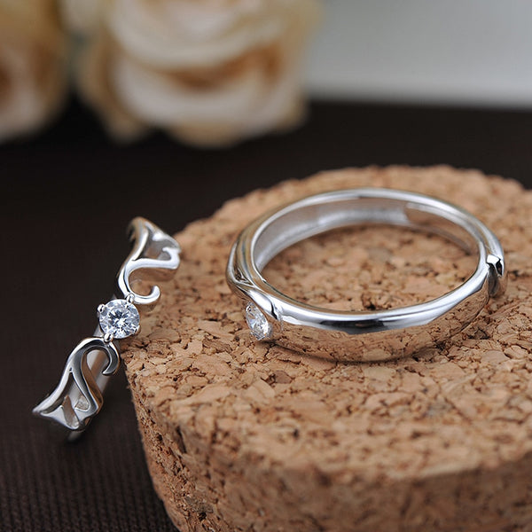 925 Sterling Silver Adjustable Rhinestone Inlay Couple Ring Lovers Angel Rings For Wedding Anniversary Party Valentine's Day