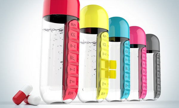 600ml Sports Plastic Water Bottle Combine Daily Pill Boxes Organizer Drinking Bottles Leak-Proof Bottle Tumbler Outdoor
