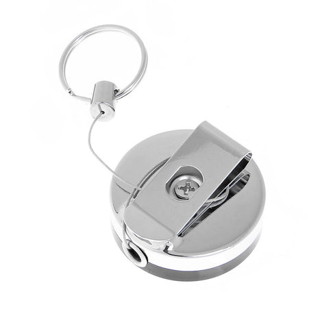 1pcs Retractable Metal Card Badge Holder Stainless Steel Recoil Security Anti-thief Key Ring Belt Clip Pull Key Chain Wholesale
