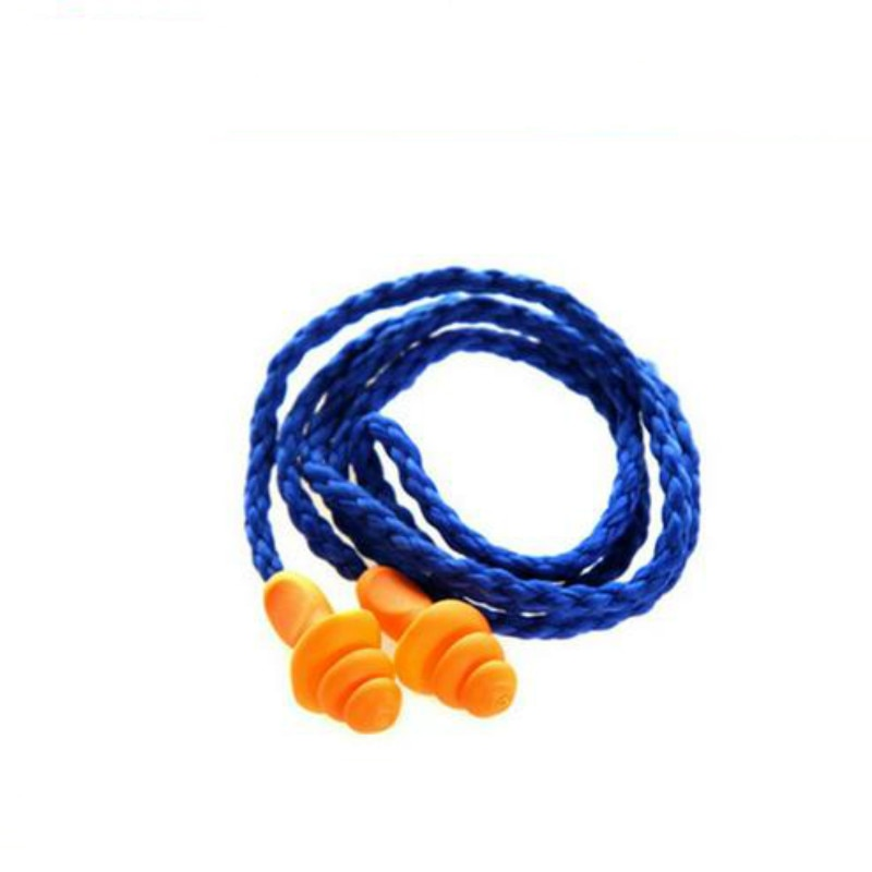 10Pcs/pack Silicone Corded Travel EarPlugs Reusable Noise Reduction