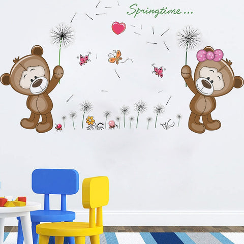 Cartoon Bear Dandelion Wall Stick Home Kid Decor