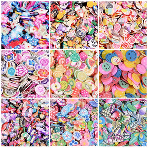 1000pcs/Bag 3D Tiny Cute Nail Art Accessories Star/Cartoon/Flower/Fruit/Feather Fimo Slices Slicing Nail Decoration