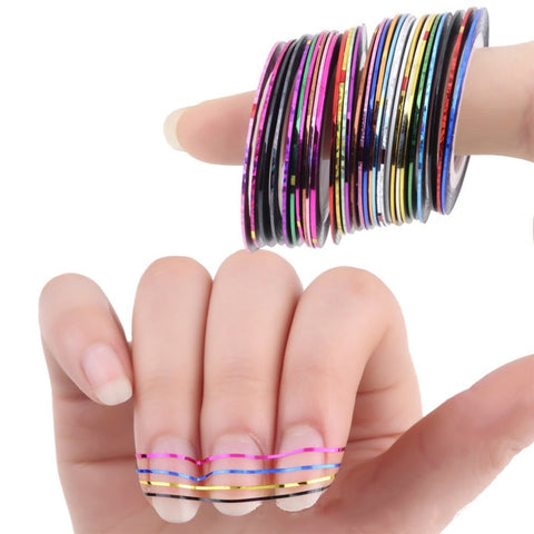 10pcs/18pcs/30pcs Narrow Line Striping Tape for Nail Art Decoration Crafting Projects Thin Stickers