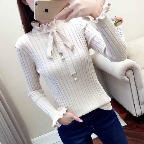 Winter Casual Sweater Women Slim Knitted Sweater Female Flare Long Sleeve Turtleneck Pullover Lace Up Women Sweaters