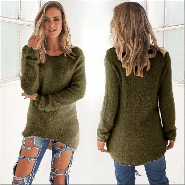 Autumn Winter Women's O-Neck Sweater Female Hedging Loose Pullover Casual Solid Full Sleeve O-neck Solid Sweaters