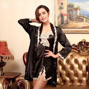 Autumn Women(Black Chinese-red Pale-pinkish-purple ) Silk Pyjamas Silk Suspenders Nightdress Two-piece Tracksuit