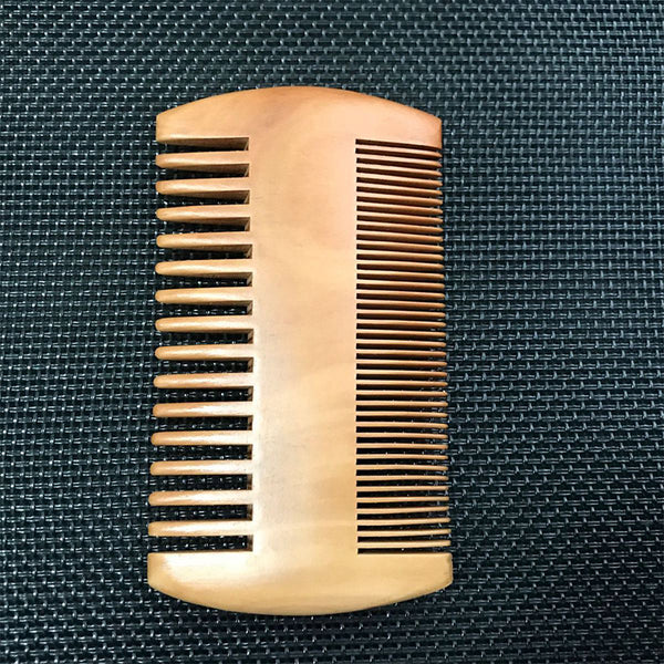 Wooden Beard Comb Dual Action Fine & Coarse Teeth Perfect for use with Balms and Oils