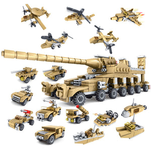 16 in 1 Child Puzzle Assembled Giant Cannon toy brick Toy Army Tank