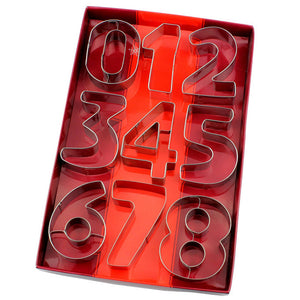 9Pcs/set Large Size Number Shape Cookie Cutter and Stencil