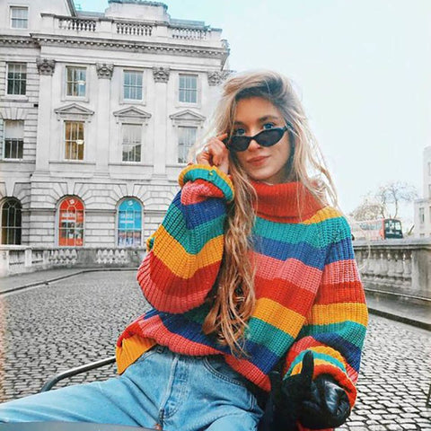 Spring Winter Women Casual Rainbow Turtleneck Sweaters Knitted Clothes Fashion Striped Oversized Pullover Female