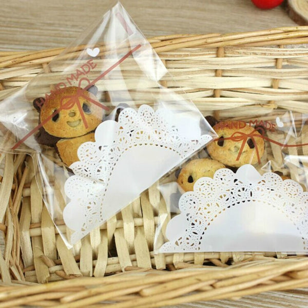 100Pcs/lot 7x7cm Lace Printing Gifts Christmas Bags For Biscuits Candy Package
