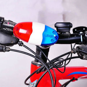 Bike Bicycle Cycling 4 Sounds 6 LED Police Car Siren Electric Light Horn Bell