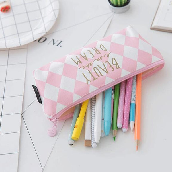 Pink Stripe Pencil Case