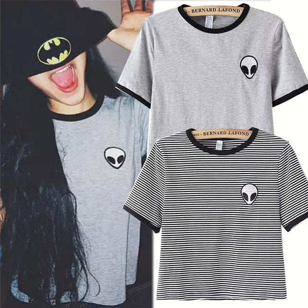 Women Young Girl Summer T Shirts Fashion Alien Printing Crop Top Teenagers Short Sleeve T-shirts Tops O Neck Tees