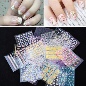 50pcs/set DIY Water Transfer Nails Art Sticker Colorful Flowers