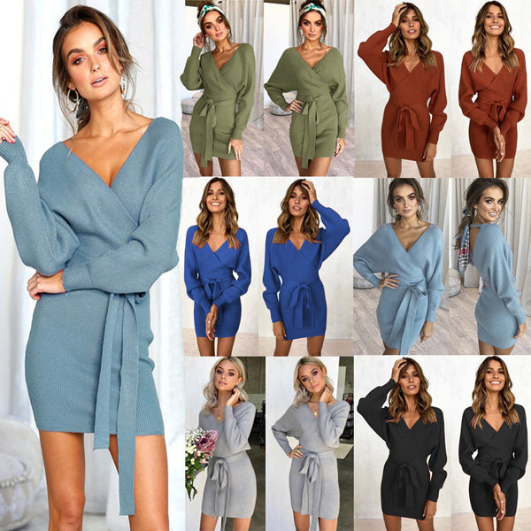 Autumn Winter Women Casual Dress Knitted V-Neck Mini Dress Ladies Sexy Green Sweater Dress Long Sleeve Vintage